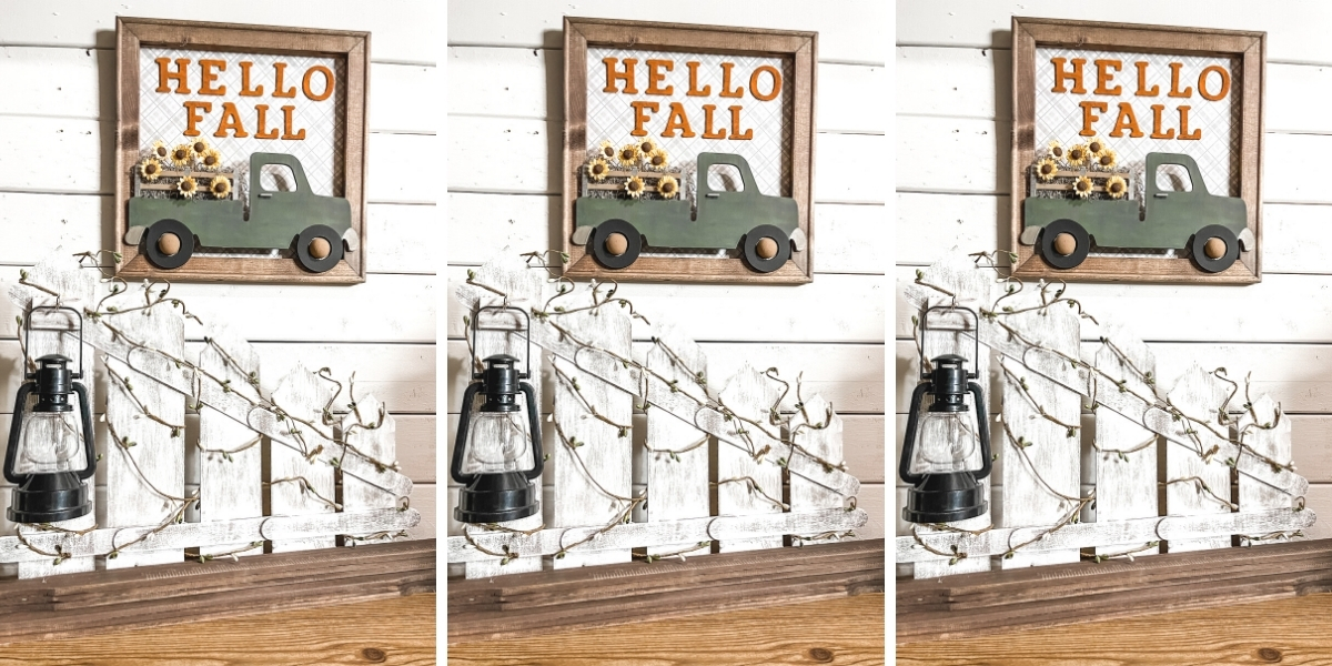 Tabletop Picket Fence and Lantern