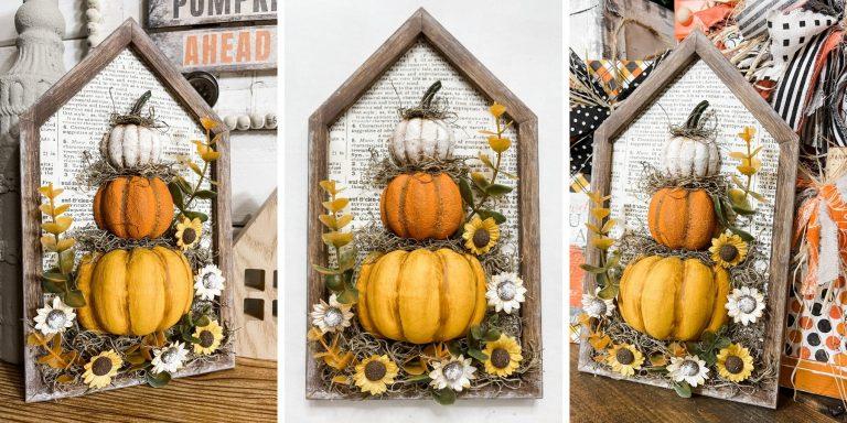 Dollar Tree Stacked Pumpkins Small Fall Sign